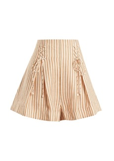 Zimmermann Painted heart lace-up striped linen shorts