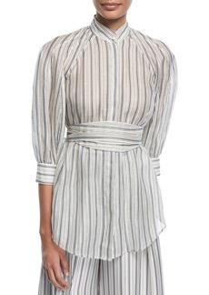 Zimmermann Painted Heart Mock-Neck Striped Silk Shirt