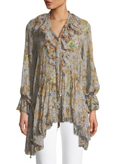 Zimmermann Painted Heart Printed Ruffled Silk Blouse