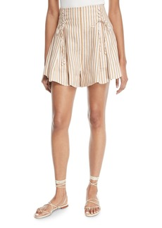 Zimmermann Painted Heart Striped Lace-Up Linen Shorts