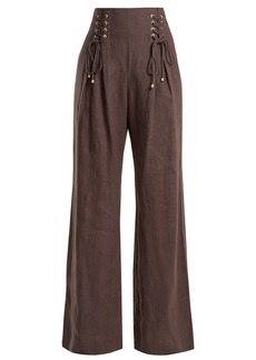 Zimmermann Painted Heart wide-leg lace-up linen trousers
