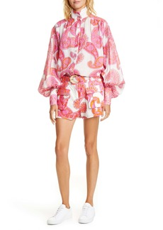 Zimmermann Peggy Paisley Linen & Cotton Shorts
