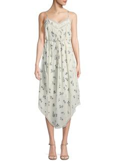 Zimmermann Pintuck Floral Bouquet-Print Silk Slip Dress