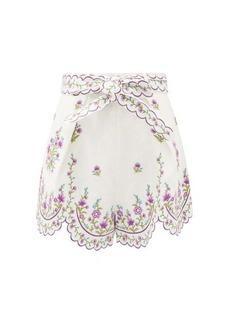 Zimmermann Poppy floral-embroidered linen shorts