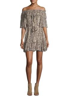 Zimmermann Prima Off-the-Shoulder Cherry-Print Silk Chiffon Dress