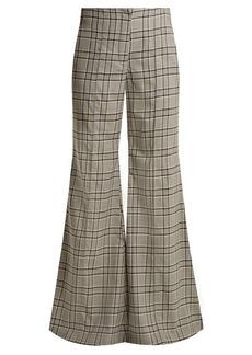 Zimmermann Rife checked kick-flare wool trousers