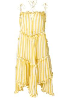 Zimmermann ruffle trim striped dress - Yellow & Orange
