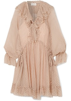 Zimmermann Ruffled polka-dot silk-georgette mini dress