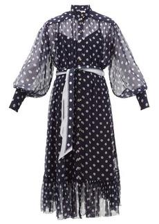 Zimmermann Sabotage Lantern belted polka-dot silk midi dress