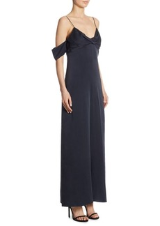Silk Cold-Shoulder Jumpsuit