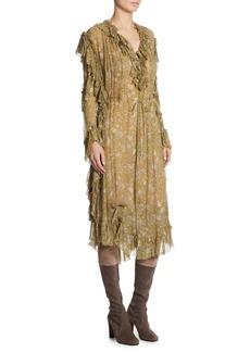 Zimmermann Silk Rife Ruffle Floral Dress