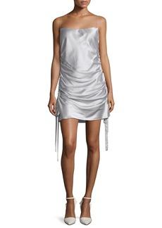 Zimmermann Square-Neck Ruched Mini Silk Satin Slip Dress