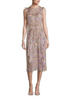Zimmermann Stranded Ruffled Silk Midi Dress