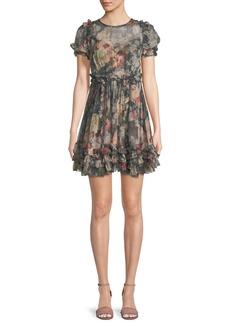 Zimmermann Sunny Floral-Print Silk Chiffon Mini Dress w/ Ruffled Trim