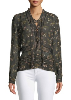 Zimmermann Sunny Lace-Up Floral-Print Chiffon Blouse with Lace Trim