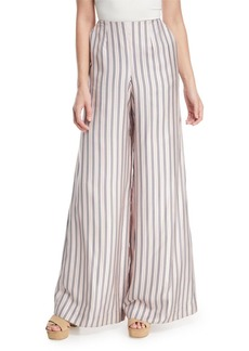 Zimmermann Sunny Wide-Leg Striped Satin Pants