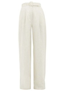 Zimmermann Super Eight belted striped-linen wide-leg trousers