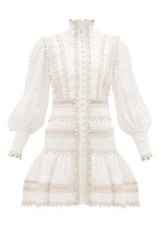 Zimmermann Super Eight corded ruffle-hem linen mini dress