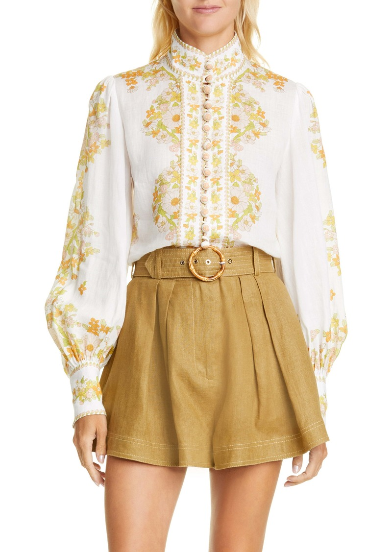 Zimmermann Super Eight Floral Print Ramie Shirt