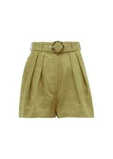 Zimmermann Super Eight high-rise belted linen shorts