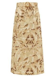 Zimmermann Super Eight leaf-print linen midi skirt