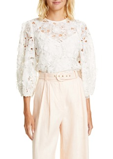 Zimmermann Super Eight Lift Off Linen & Silk Blouse