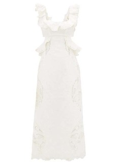 Zimmermann Super Eight ruffled embroidered midi dress