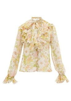 Zimmermann Super Eight ruffled pussy-bow silk blouse