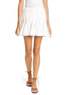 Zimmermann Super Eight Safari Linen Miniskirt