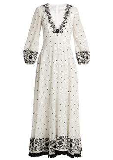 Zimmermann Tali embroidered linen maxi dress