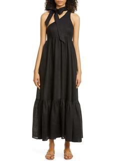 Zimmermann Tie Neck One-Shoulder Linen Dress