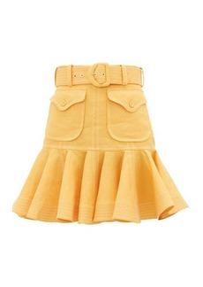 Zimmermann Topstitched flounced-hem linen-poplin skirt