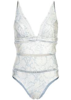 Zimmermann V-neck damask swimsuit - Blue