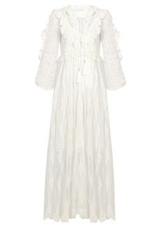 Zimmermann Valour embroidered silk-crepon dress