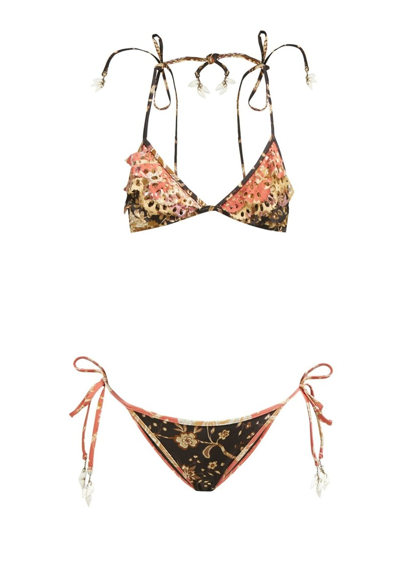 Zimmermann Veneto shell-charm floral-print bikini