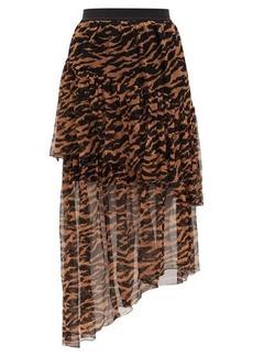 Zimmermann Wavelength tiger-print silk-georgette midi skirt