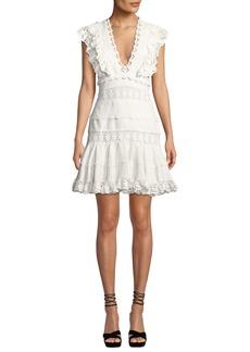Zimmermann Wayfarer Paneled Lace Flutter Short Dress