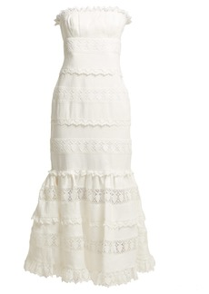 Zimmermann Wayfarer strapless cotton and lace midi dress