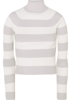 Zimmermann Whitewave Cropped Striped Ribbed-knit Sweater