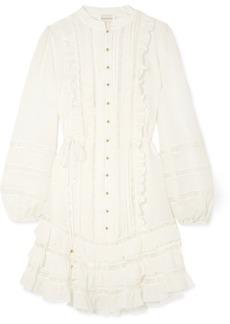 Zimmermann Whitewave lace-paneled silk-blend georgette mini dress