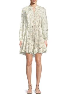 Zimmermann Whitewave Pintuck Floral-Print Ruffle Mini Dress