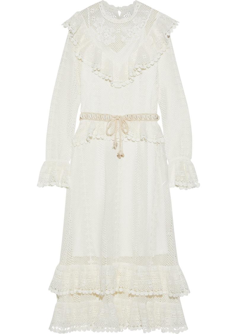 Zimmermann Woman Allia Belted Ruffled Crocheted Maxi Dress Ivory