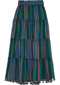 Zimmermann Woman Allia Belted Striped Cotton-voile Maxi Skirt Green