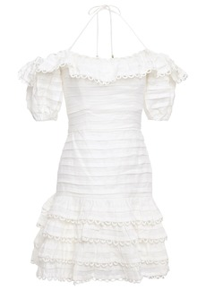 Zimmermann Woman Allia Pintuck Off-the-shoulder Ruffled Linen Mini Dress Ivory
