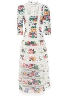 Zimmermann Woman Allia Pintucked Lace-paneled Floral-print Linen Midi Dress White