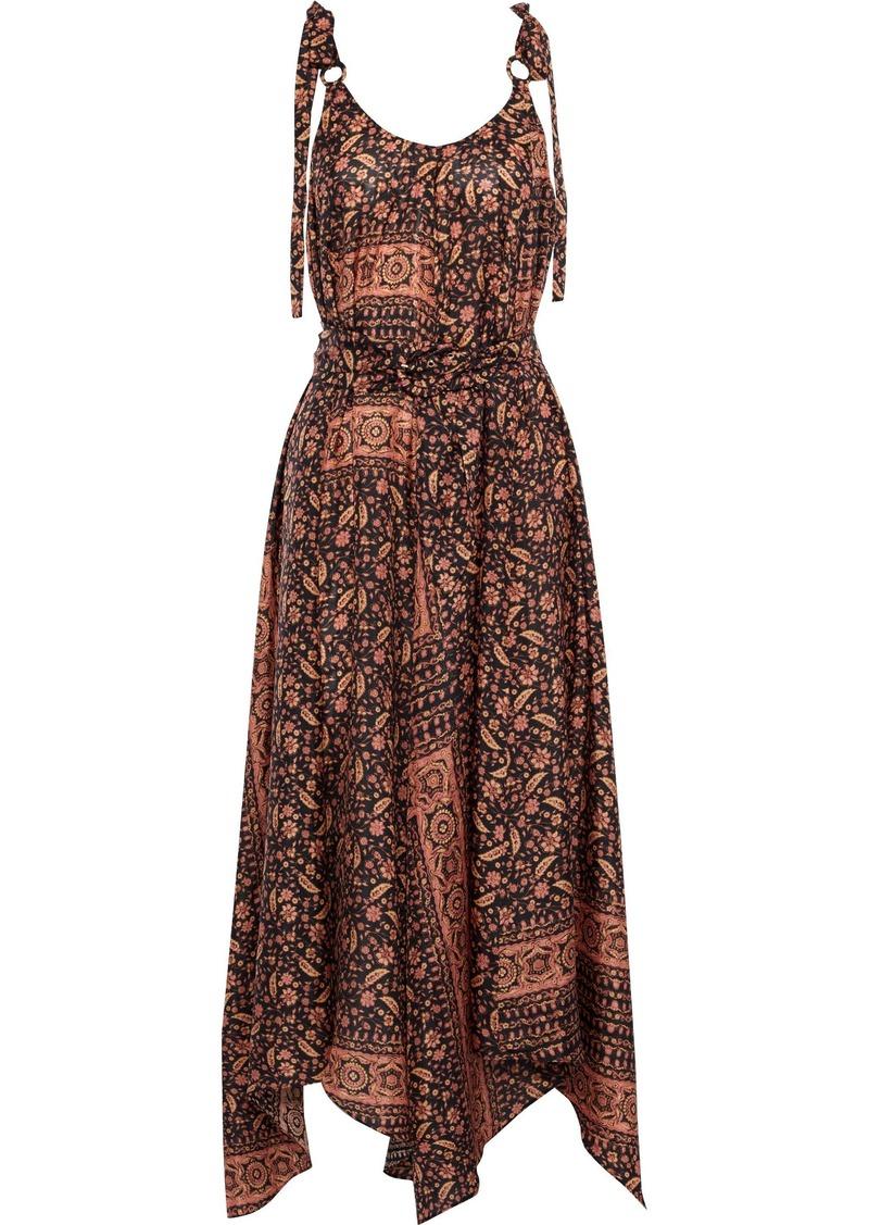 Zimmermann Woman Asymmetric Draped Printed Silk Midi Dress Black