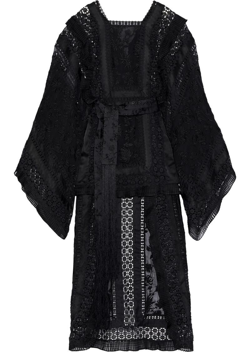 Zimmermann Woman Asymmetric Embroidered Silk-organza Crochet And Chiffon Maxi Dress Black