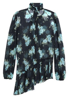 Zimmermann Woman Asymmetric Floral-print Fil Coupé Silk-blend Blouse Navy