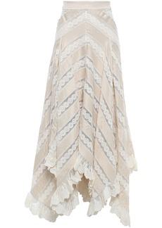 Zimmermann Woman Asymmetric Lace And Polka-dot Satin Midi Skirt Cream