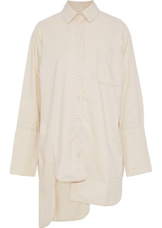 Zimmermann Woman Asymmetric Metallic Striped Cotton-blend Poplin Shirt Beige